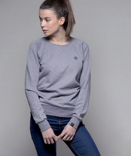 Milk and Cookiez sweatshirt girl women model grey logo