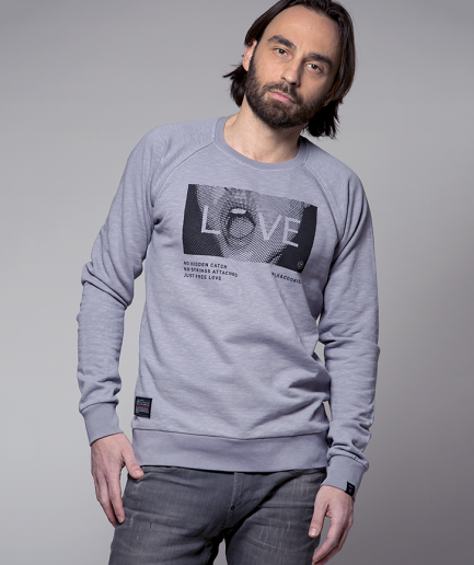 Milk and Cookiez sweatshirt grey boy men model Love mouth lips depeche mode