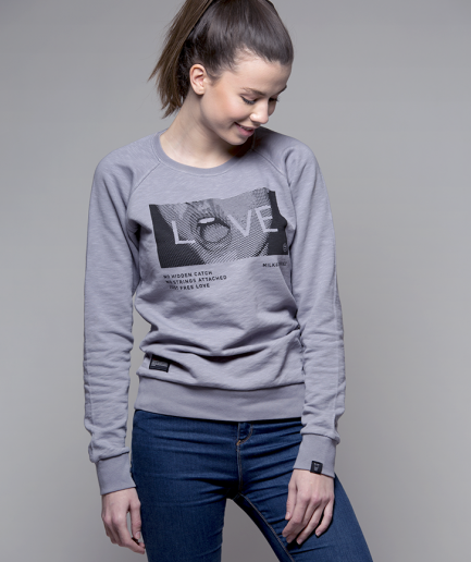 Milk and Cookiez sweatshirt grey girl women model Love mouth lips depeche mode