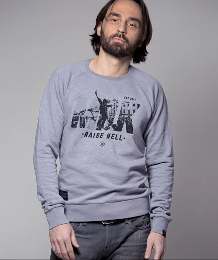 Milk and Cookiez sweatshirt grey riots raise hell model boy men
