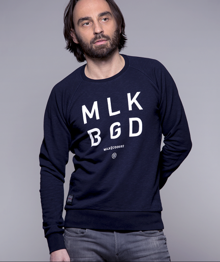 Milk and Cookiez sweatshirt model boy mendark blue Belgrade