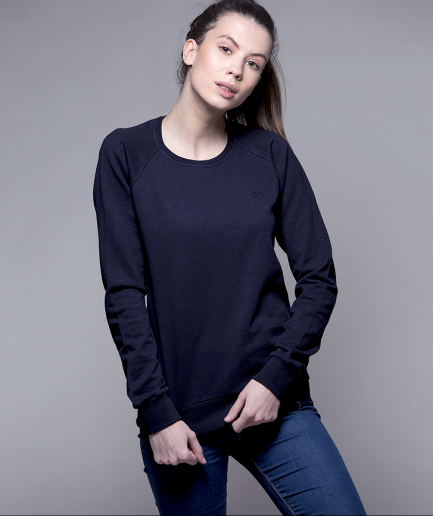 Milk and Cookiez sweatshirt model girl women dark blue logo