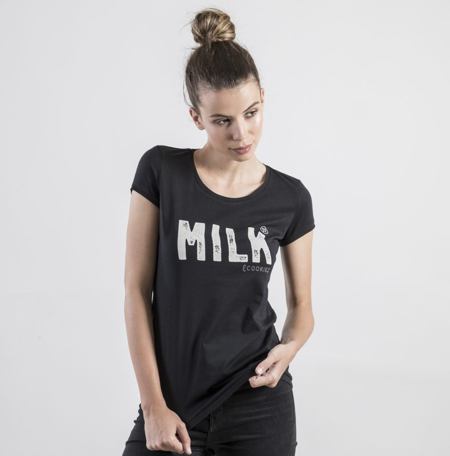 Milk and Cookiez MILK Black Brand t-shirt t shirt women model