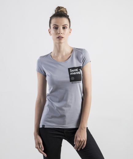 Milk and Cookiez Senti mental light grey t-shirt t shirt women model