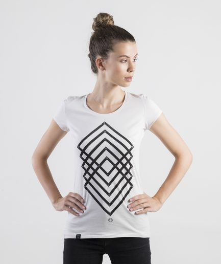 Milk and Cookiez geometry white t-shirt t shirt women model