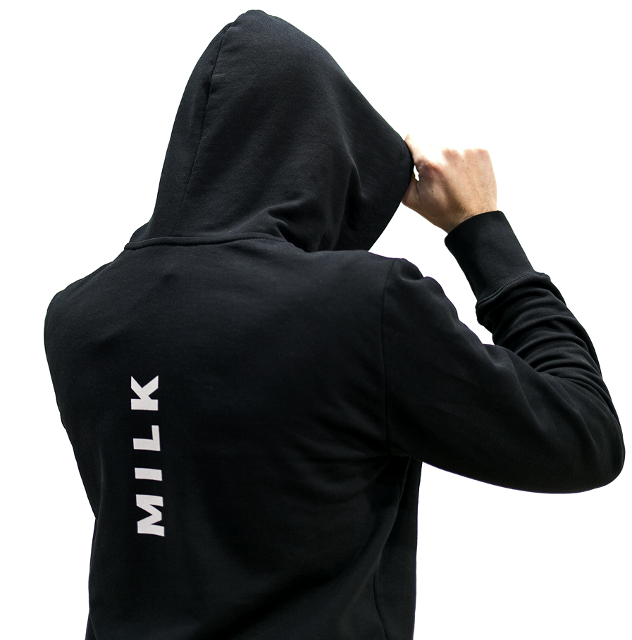 Milk & Cookiez MILK small print ack hoodie on model sweatshirt
