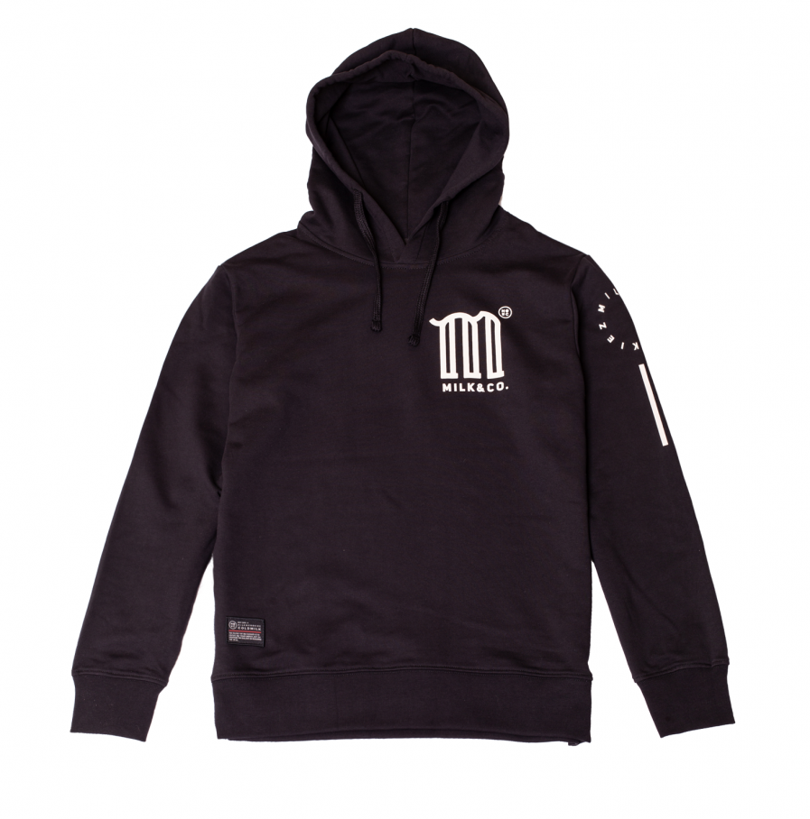 MILK & Cookiez black hoodie M logo arm print product front
