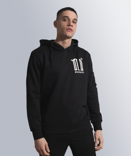 MILK & Cookiez black hoodie M logo arm print product male model front