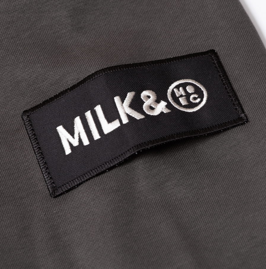 MILK & Cookiez military green hoodie detail 2 patch arm