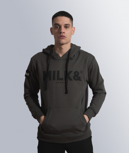MILK & Cookiez military green hoodie male model front
