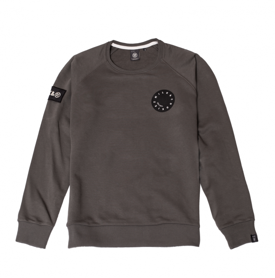 MILK & Cookiez military green raglan sleeve sweatshirt product front