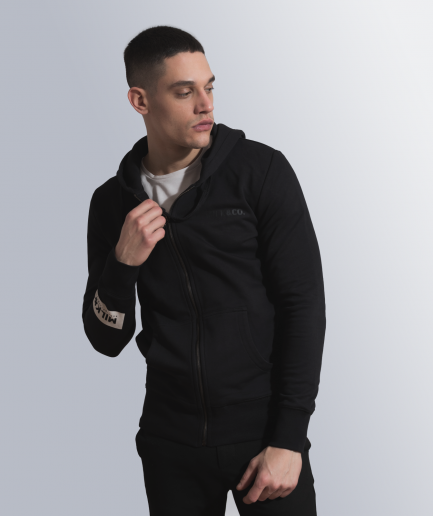 MILK & Cookiez zip hoodie black arm patch print product male model front