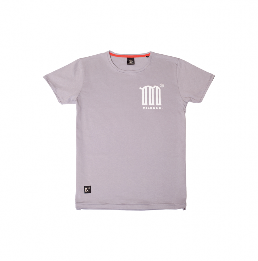 M is for Milk tshirt light grey men women tshirt product front
