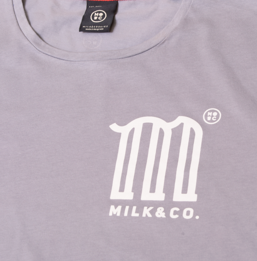 M is for Milk tshirt light grey men women tshirt product front detail