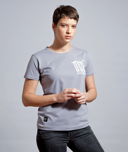 M is for Milk tshirt light grey women tshirt model front