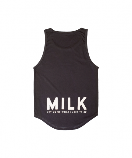 Milk & Cookiez tank top shirt dark grey long fit back product MLK