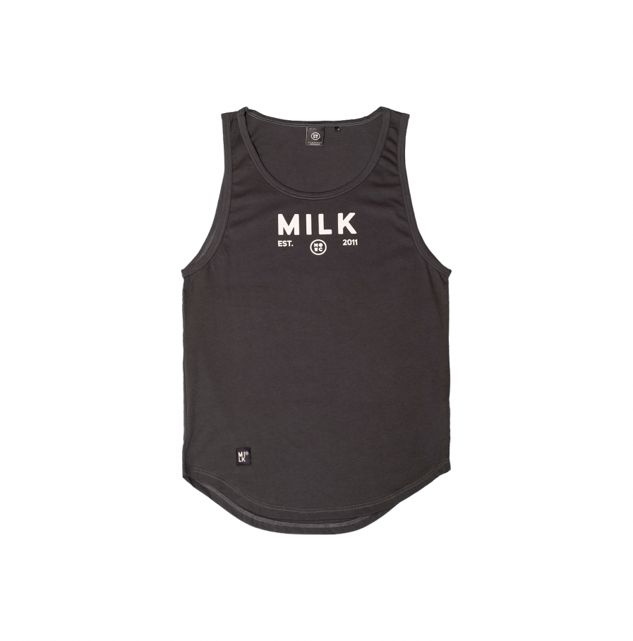 Milk & Cookiez tank top shirt dark grey long fit front product