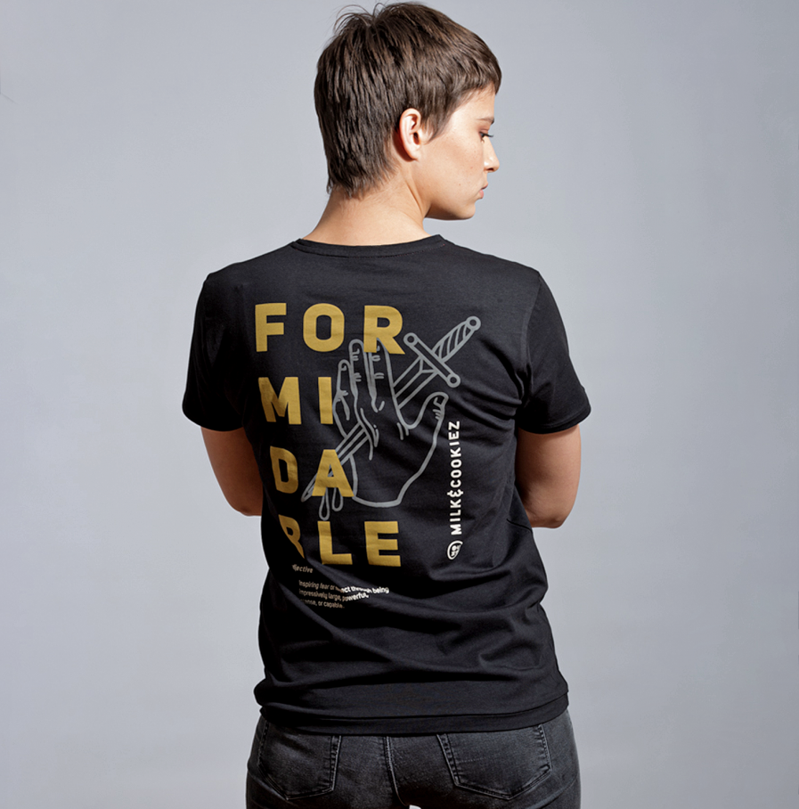 Milk Formidable dagger black tshirt women model back